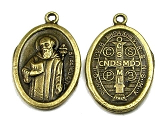 St Benedict Jubilee Medal Charm BRONZE Finish oval 1""