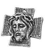 "Antique Silver Finish Ecce Homo Holy Face Thorns Charm 7/8"" Our Deluxe Medals are known are known for the most Beautiful intricate designs Silver Antique-Made in Italy Catholic medals-"