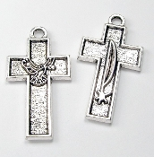 Economical Small Crucifix Metal Silver Oxidized Rosary parts-Crucifix Charms, Necklace-Includes jump ring-Rosary Crucifixes Pendant-Italy-Crucifix to make rosaries Inexpensive Catholic Cross