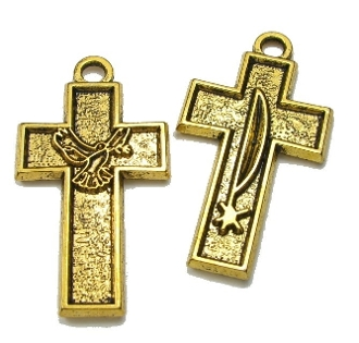 Holy Spirit and Sacred Heart Cross Silver 1 1/2