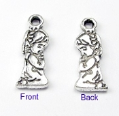 3D Tiny Silver Antique Praying Girl Charm 1.5cm Parts