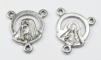Antique Silver Lady of Sorrows /SHJ 1.4cm Rosary Centerpiece