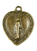 "Heart Shaped Lady of Grace Charm Silver Antique-H-3/4"" Made in Italy"