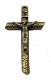 "Bronze Finish Log style Crucifix 2"" x 1 1/4"" Rosary Parts Necklace Jesus"