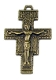 "Catholic religious San Damiano Crucifix Cross 1 3/8"" Bronze Finish Metal"