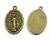 "Lady of Grace medal Bronze Finish Charm 7/8"" LATIN WORDING-Regina Sine Labe Originali Concepta (OPN) Ora Pro Nobis, or ""Queen Conceived Without Original Sin, Pray for Us"