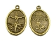 "BRONZE Finish Jesus/Cross Medal oval 1"" Italy Holy Mary"
