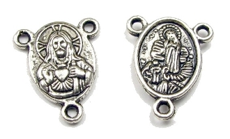 "Small Antique Silver Lady of Lourdes / SHJ 5/8"" Rosary Parts Lady of Lourdes / Sacred Heart of Jesus Rosary Centers to make rosaries-centerpieces-Center Rosary parts"