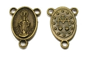 Miraculous medal Bronze Finish Rosary Center Piece 1.8cm-Inexpensive Rosary Centers to make rosaries-- Bronze-Center Piece Rosary parts