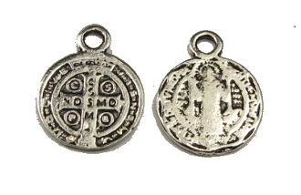 Tiny Saint Benedict Jubilee Silver Antique medal 1.2cm ROUND