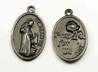 "Saint Francis of Assisi medal Gunmetal Metallic 1"" PRAY FOR US"