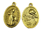"St Francis Assisi with Pet medal SATIN GOLD 1"" oval PRAY FOR US"