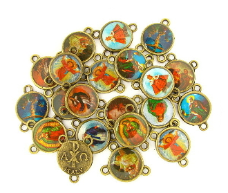 Tiny Color Picture MIXED 25pc Bronze Rosary Centerpieces 9/16""