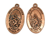 "Saint Christopher Copper Finish 1"" Medal Double Sided Picture"