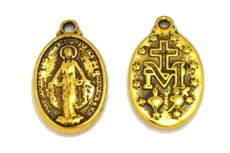 Small Antique Gold Miraculous Medal Oval 1.7x1.2cm