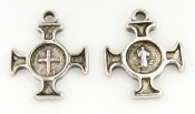 Tiny Saint Benedict Cross Antique Silver Finish 1.8cm Italy