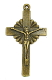 "Bronze Crucifix 2"" x 1 1/4"" Rosary Parts or Necklace Jesus"