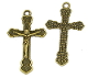 "Bronze Finish Catholic Crucifix Cross 1 3/16"" x 3/4"" Rosary Bracelet Parts"