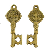 "10/Pc Saint Benedict Key BRONZE FINISH -1 1/8"" Key of Heaven"