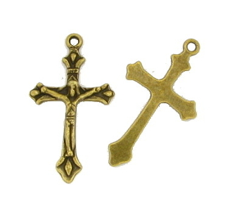 "Bronze Finish Catholic Crucifix Cross 1 3/8"" x 7/8"" Metal"