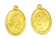 "St Francis Assisi medal Gold finish 1"" oval PRAY FOR US"