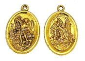 "Antique Gold Finish-Saint Michael and Guardian Angel Medal oval 1"" imported from Italy-"