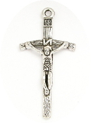 "1 3/4"" x 1"" Antique silver-plated Replica Papal Crucifix"