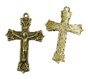 Bronze Finish Crucifix 3.6 x 2.5cm Rosary Parts-Necklace