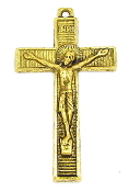 "rosary crucifixes, rosary parts, crucifix for rosary, Made in Italy, Inexpensive silver oxidized Catholic Crucifix to make rosaries -Dramatic Gold Antique Crucifix 1 3/4"" x 1 1/8"" Rosary Parts"