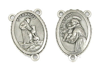 "St Francis and St Anthony Rosary Centerpieces 1"" Silver Oxidized-These rosary center pieces are recognized for their traditional Catholic rendering. A beautiful Center to make rosaries. Made in Italy"