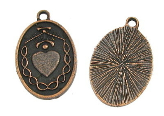 Heart with the Crown of Thorns Copper finish Medal 7/8""
