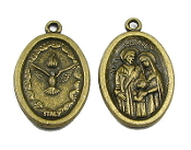 "Holy Spirit and Holy Family Medal BRONZE FINISH 1"" oval ITALY"