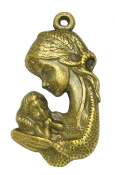"Madonna and Child Bronze Finish Medal 1 1 /4"" Made in Italy"