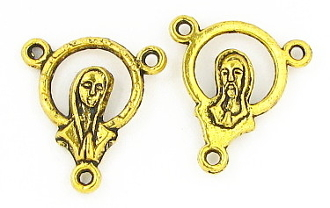 Halo Praying Madonna/SHJ Center 1.7cm Antique Gold Finish Rosary Parts