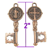 "Key of life---10/Pc Large 2"" Saint Benedict Key to Heaven-Copper Finish-2"" Italy key shaped medal"