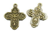 Tiny H-2.1cm Catholic Religious Bronze Finish 4 Way Cross Saint Joseph, St Christopher, Sacred Heart of Jesus (Scapular), Lady of Grace (Miraculous), Back Infant of Prague, Lady of Lourdes, St Anthony, Holy Spirit