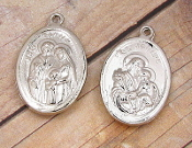 "10/Pc Shiny Silver Saint Joseph & Holy Family Medal Oval 1""-Silver-plated charms, a charm coated with an old-fashioned heirloom finish. Its Silver finish will provide the elegant and classic look of a family heirloom"
