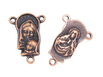 Copper Finish Madonna Child /SHJ 1.9cm Rosary Part Centers Sacred Heart of Jesus Holy
