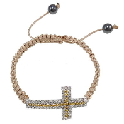 Fashion Cross Two-Tone Rhinestone Bracelet, Hematite, wax cord, cross design, 23x40.50x6mm, The bracelet has an adjustable strap which will fit almost any wrist