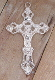 "Fleur-de-lis Cross Premium Bright Silver Finish Crucifix 2""-Metal Catholic Rosary parts- Necklace-Crucifixes Pendant-Crucifix to make rosaries-Keywords: polished, shined, superbright, ultrabright, shiny, beamy, bright, brilliant, radiant"