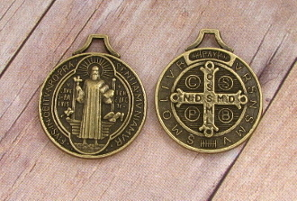 "Saint Benedict Jubilee BRONZE Finish Medal 3/4"" ROUND"