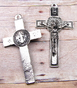 Large Saint Benedict Crucifix Cross Jubilee Antique Silver 2 1/2""