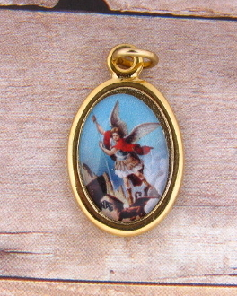 "Saint Michael medal Gold Plated Color Picture 7/8"" oval Italy"