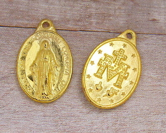 "Miraculous Medal Gold Plated 7/8"" Oval Latin Wording-Regina Sine Labe Originali Concepta (OPN) Ora Pro Nobis, or ""Queen Conceived Without Original Sin, Pray for Us"
