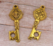 "24/Pc St Benedict Key Antique Gold Finish -1 1/8"" Key of Heaven"