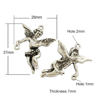 3D Silver Antique Angel medal with connector 3.7cm
