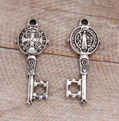 10/Pc Saint Benedict Key to Heaven Antique Silver Finish 7/8""