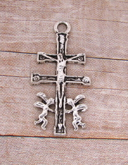 Caravaca Crucifix Cross Antique Silver Finish 1 1/16""