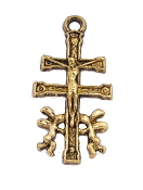 "Caravaca Catholic Crucifix Cross Antique Gold Finish 1 1/16"" cara vaca-Caravaca Cross Antique Gold corss, a cross coated with an old-fashioned heirloom finish. Its antiqued finish will provide the elegant and classic look of a family heirloom."