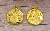 "Pope John Paul II Medal ROUND Charm 3/4"" GOLD PLATED"